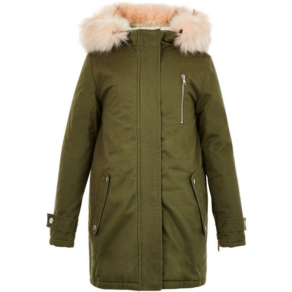 2601ef92932c New Look Girls Khaki Faux Fur Trim Hooded Parka ( 44) ❤ liked on ...