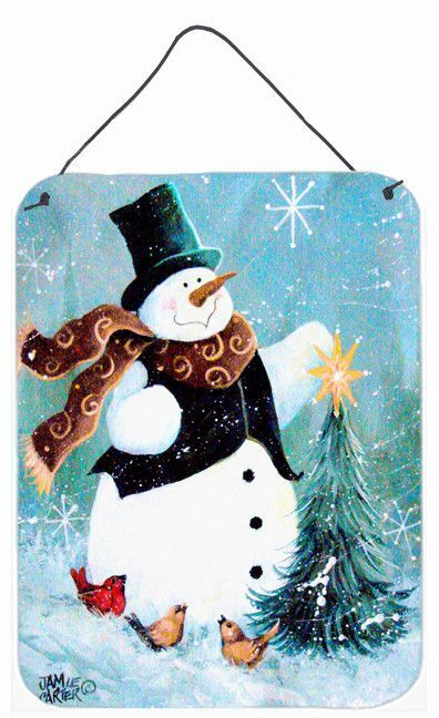Christmas Tree Friends Snowman by Jamie Carter Painting Print Plaque