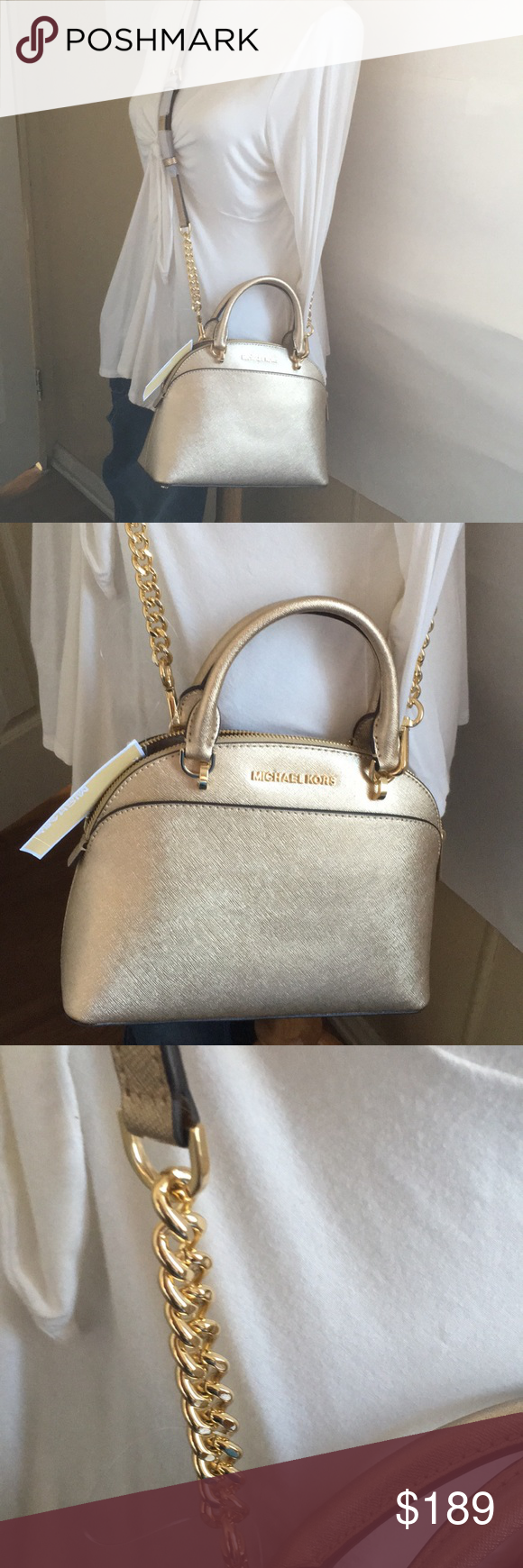 b74d2065539d Michael kors Emmy small dome satchel Brand new satchel bag Color: pale gold  Leather Shoulder long strap Measurements: 10