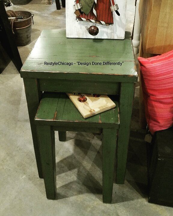 Solid Wood Nesting Tables Pottery Barn: Pottery Barn Nesting Tables! #restylechicago #reluxvintage