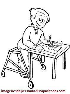 Dibujos De Niños Con Discapacidades Diferentes Para Colorear