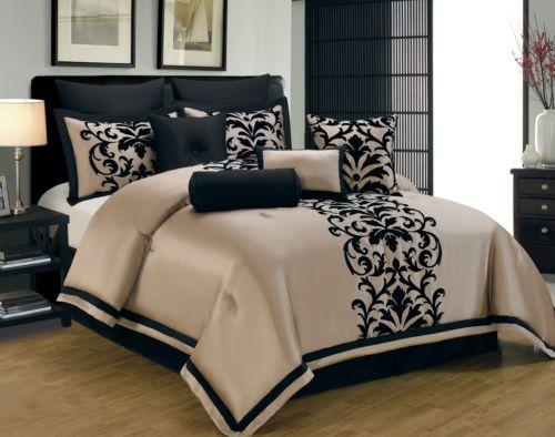 10 Piece Queen Dawson Black And Gold Comforter Set Bedroom