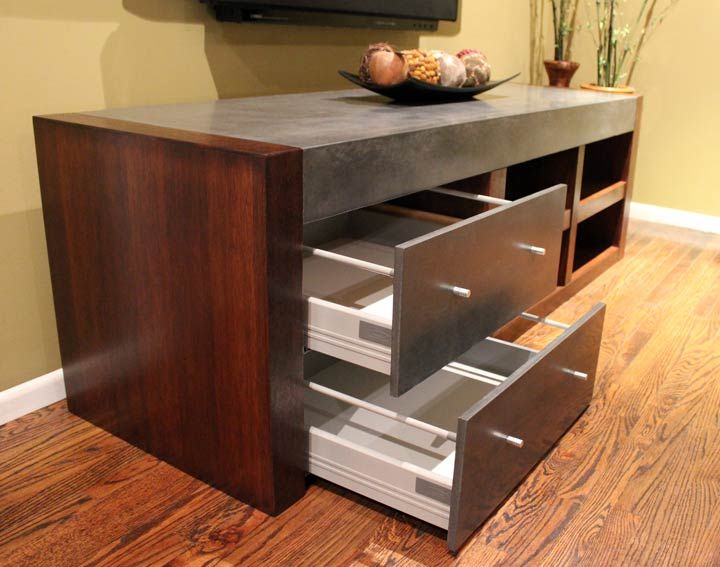 Customer Concrete Top and Drawers - made with CHENG D-FRC in Charcoal, by Lawrence from California