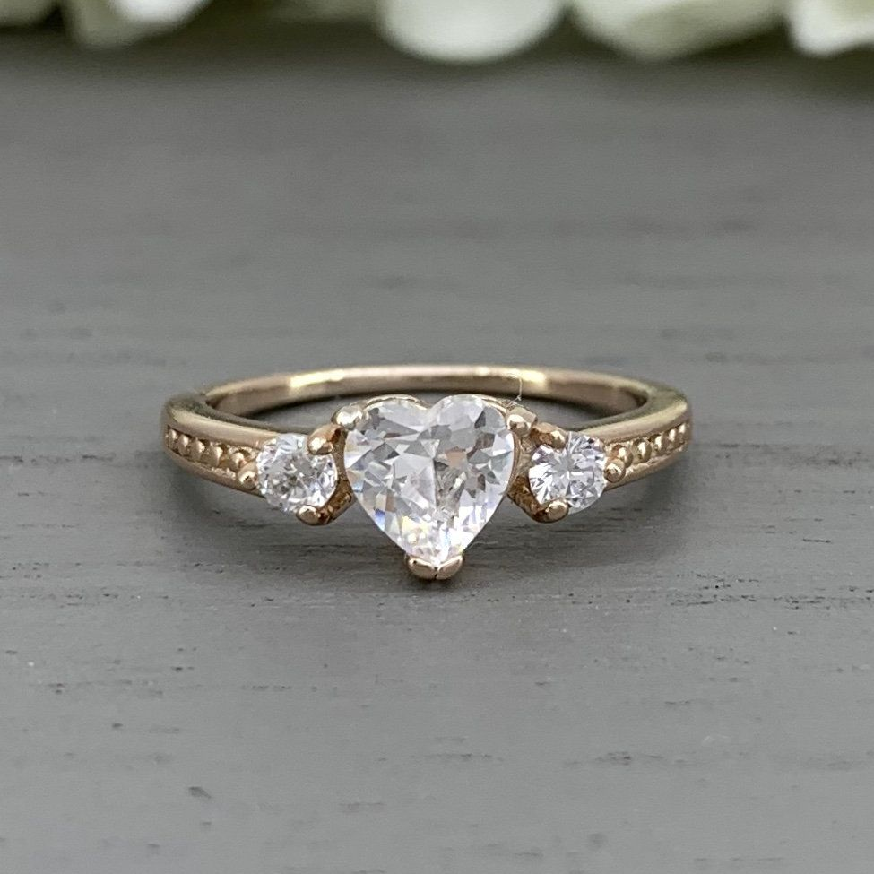 Rose Gold Heart Shaped Simulated Diamond Ring Three Stone Simulated Diamond Engagement Sterling Silver Halo Promise Wedding Ring Heart Wedding Rings Simulated Diamond Rings Rose Gold Heart