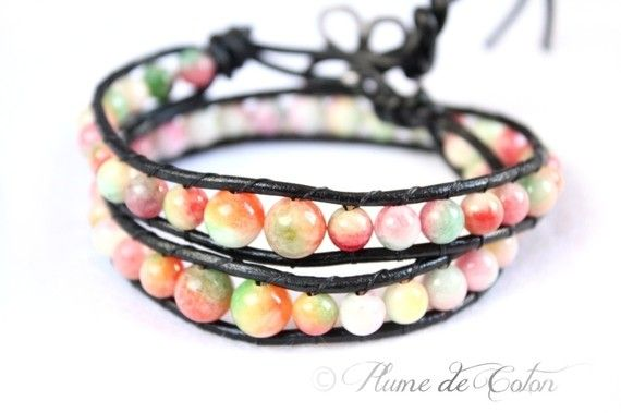 Candy Jade leather wrap bracelet