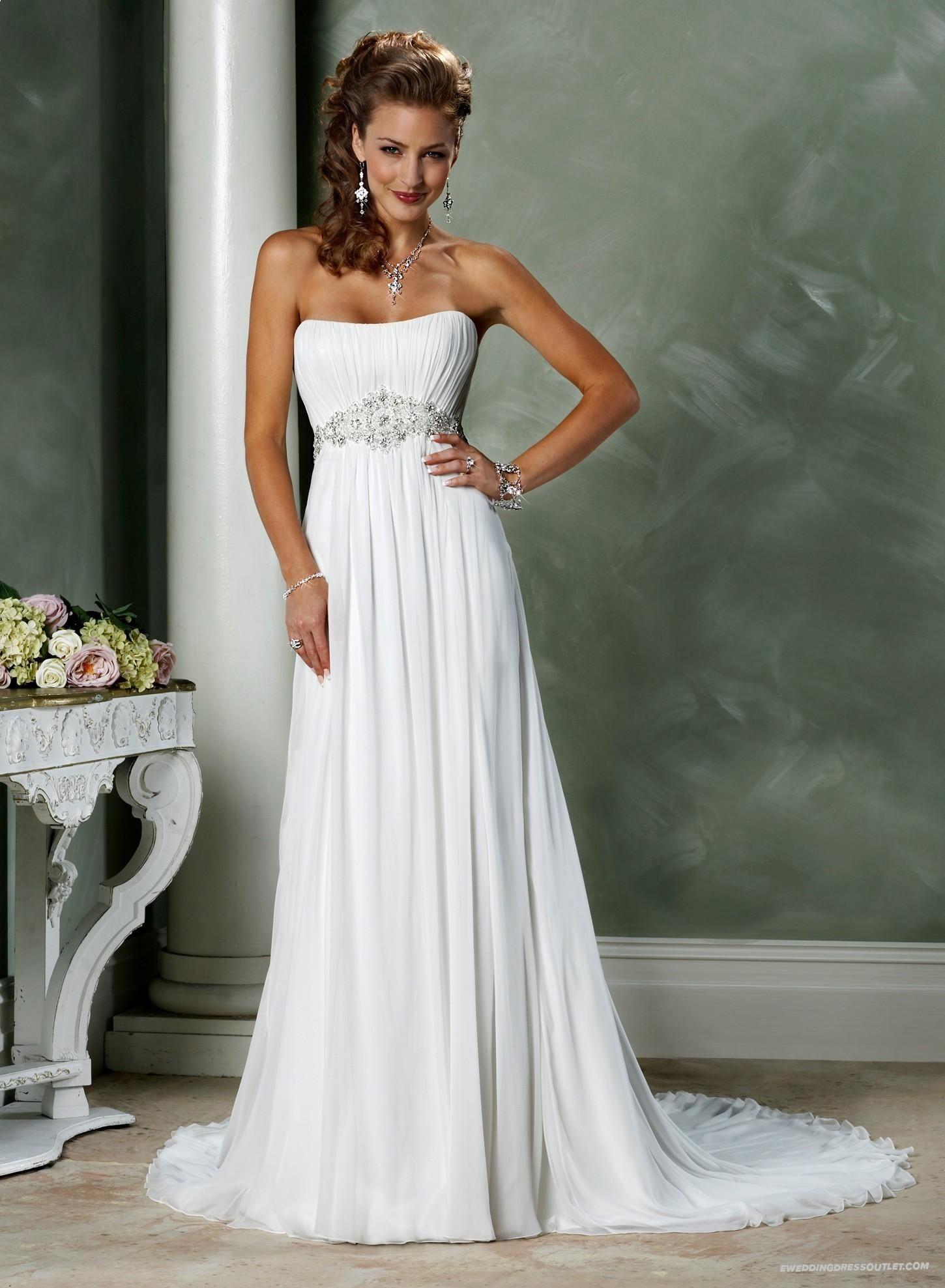 Chiffon wedding dress empire waist  Luxurious Gossamer Chiffon Strapless Scoop Neckline Slim Aline