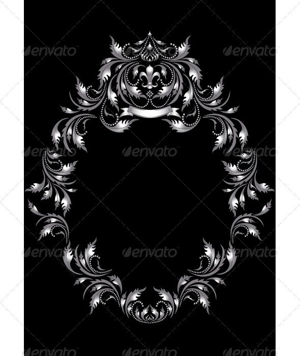 Frame Of Silver Leaf In Old Style On Black Background