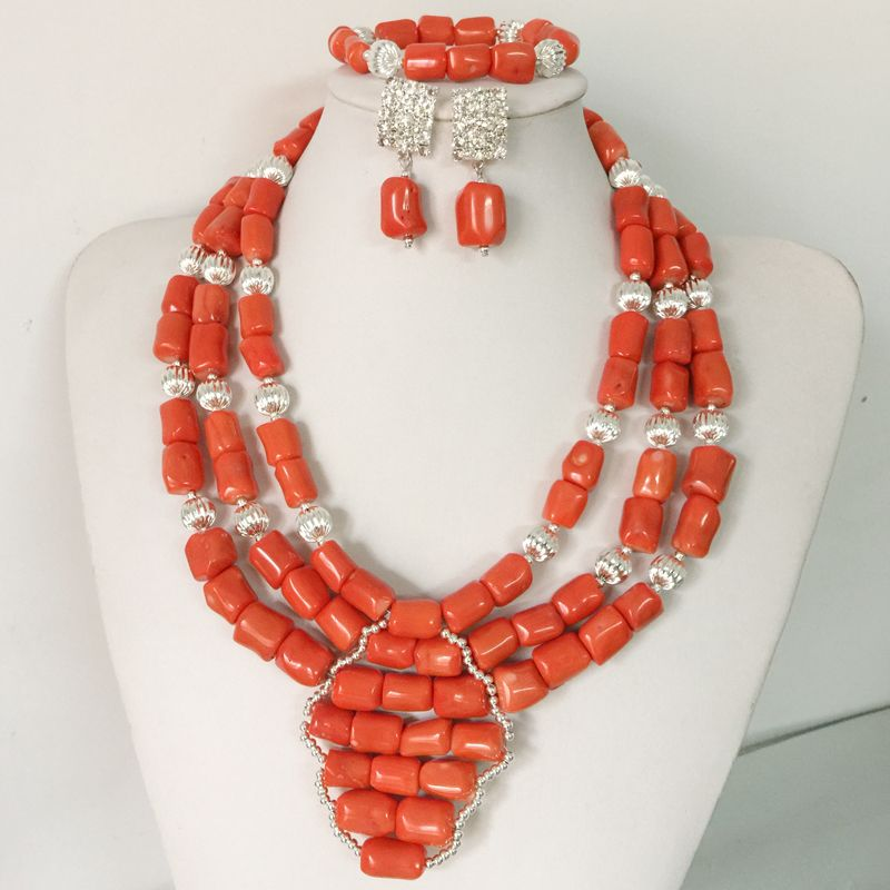 2017 Latest African Wedding Coral Beads Jewelry Set African ...