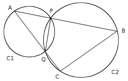 Draw circles C1 and C2 with the common chord PQ. Now choose a point ...