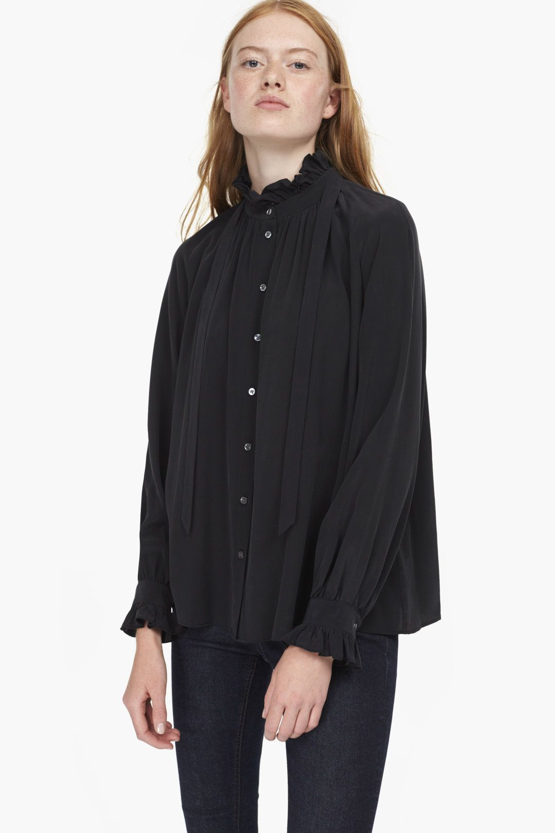 9bfb135fd6200 Crêpe de Chine Blouse with ruffled Stand-Up Collar