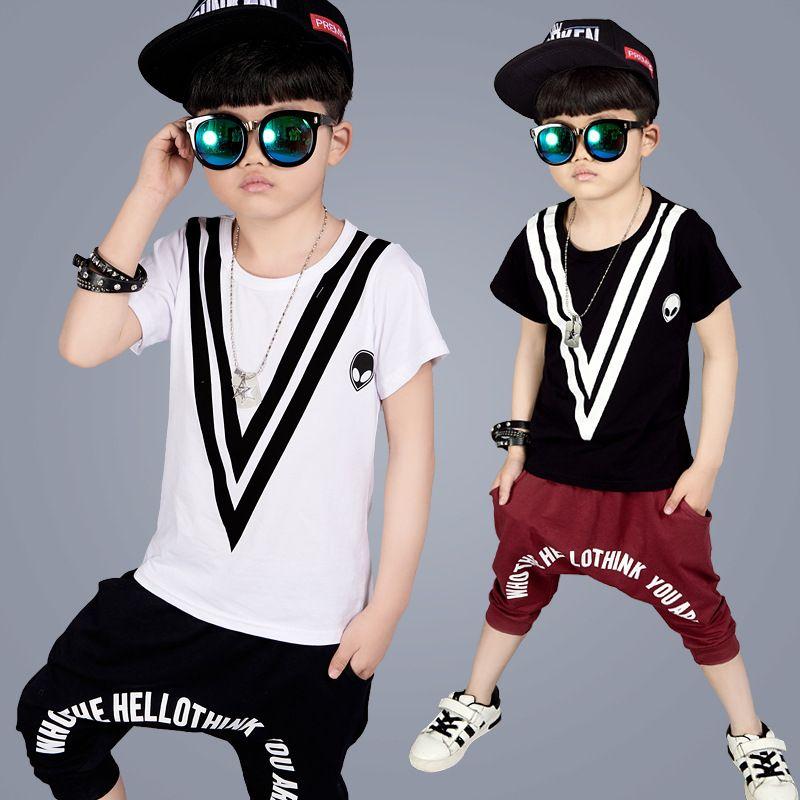 f0dc2d23bda Summer teenagers boys clothing sets Hip-hop costume school print T-shirt  harem pants