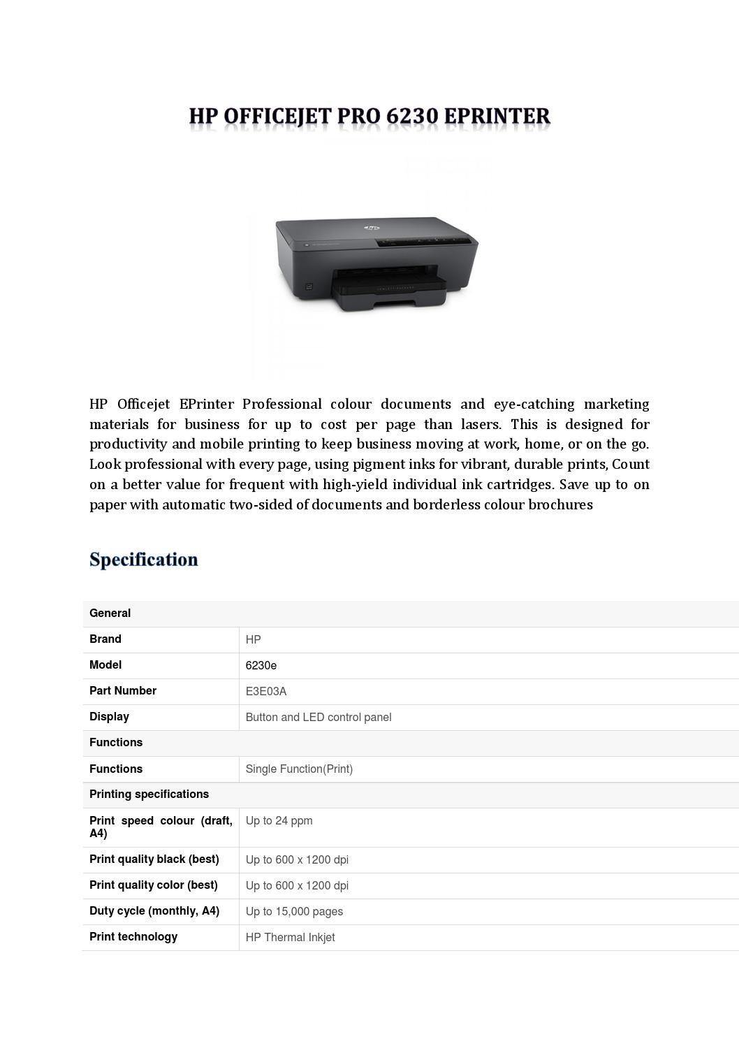 Hp Officejet Pro 6230 Eprinter Hp Officejet Pro Hp Officejet Mobile Print