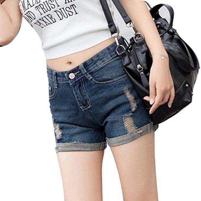 994d174bc451d2 Elegant Jeansshorts für Damen Zerrissene Kurze Denim Hosen Casual Kurz  Jeans Hotpants Shorts mit Taschen für