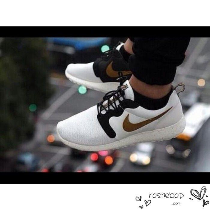 bcfec5f495de ... nike roshe run mesh white black golden shoes mens womens nike roshe run