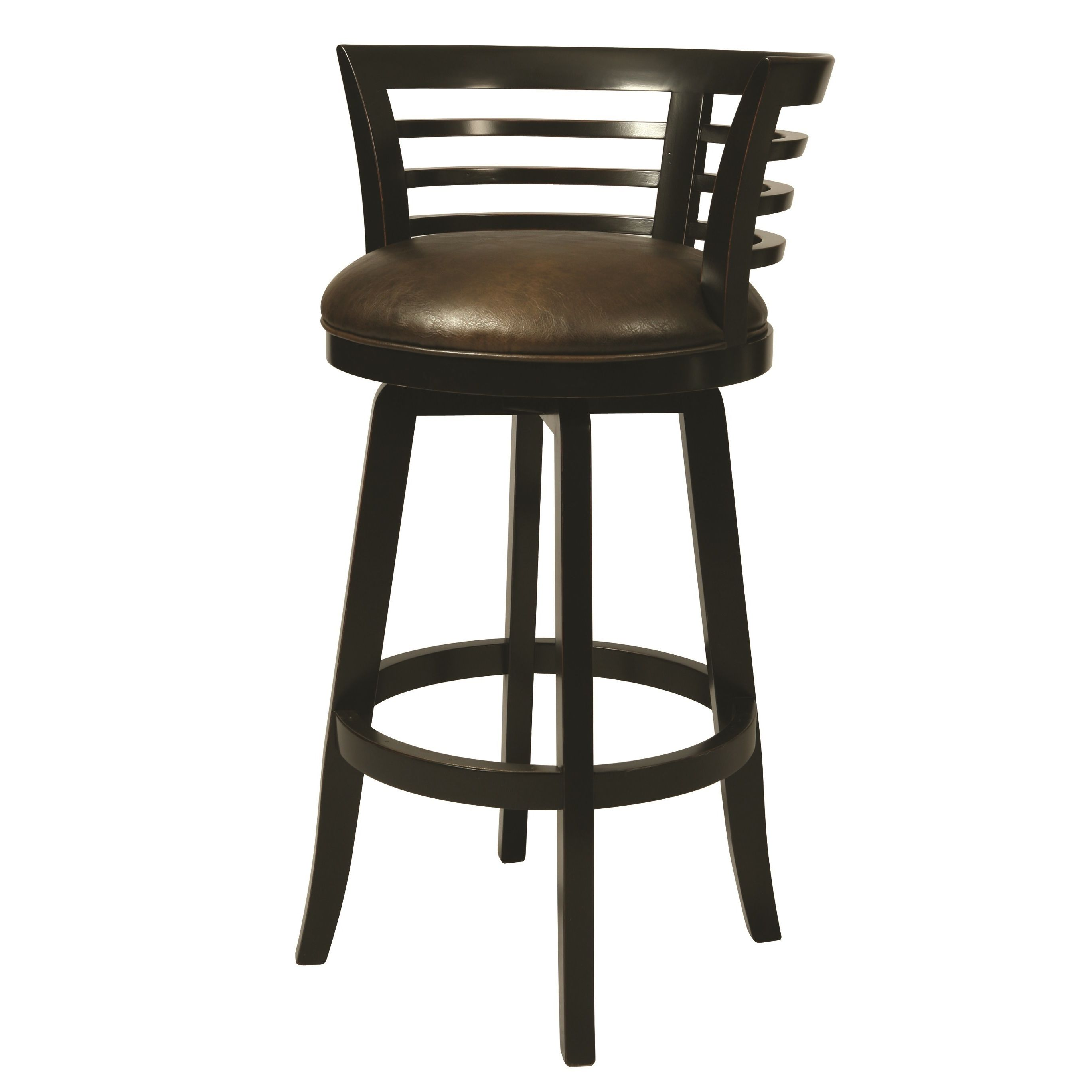 Peachy Ortona Black Finish Wood Faux Leather Swivel Stool 30 Uwap Interior Chair Design Uwaporg