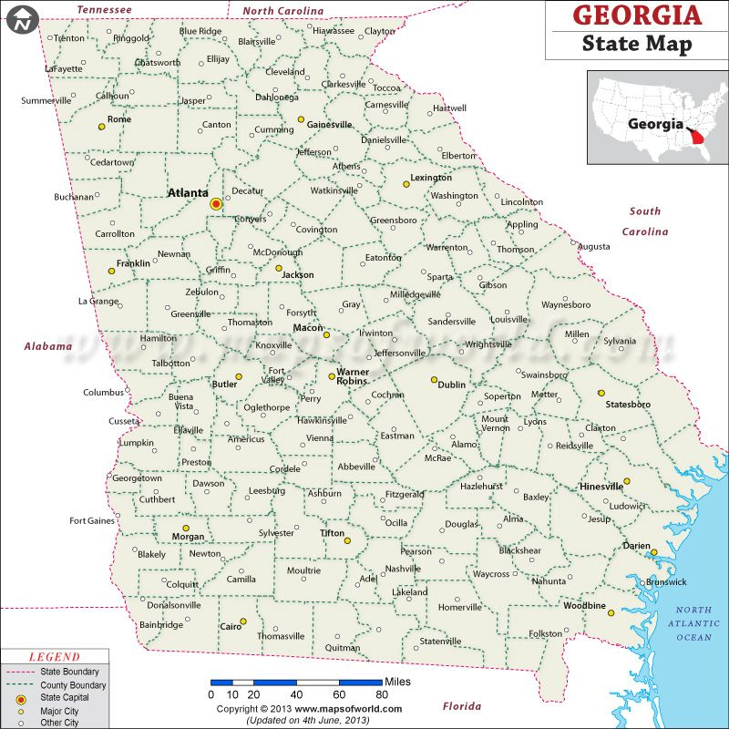Map Of Usa Georgia.Georgia State Map Shows The State Capital Major Towns And State