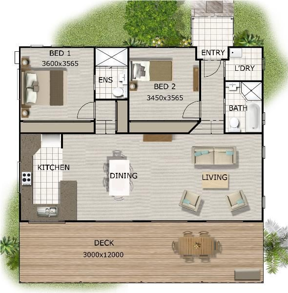 2 bedroom granny flat on timber floor for sloping land for Floor plans granny flats