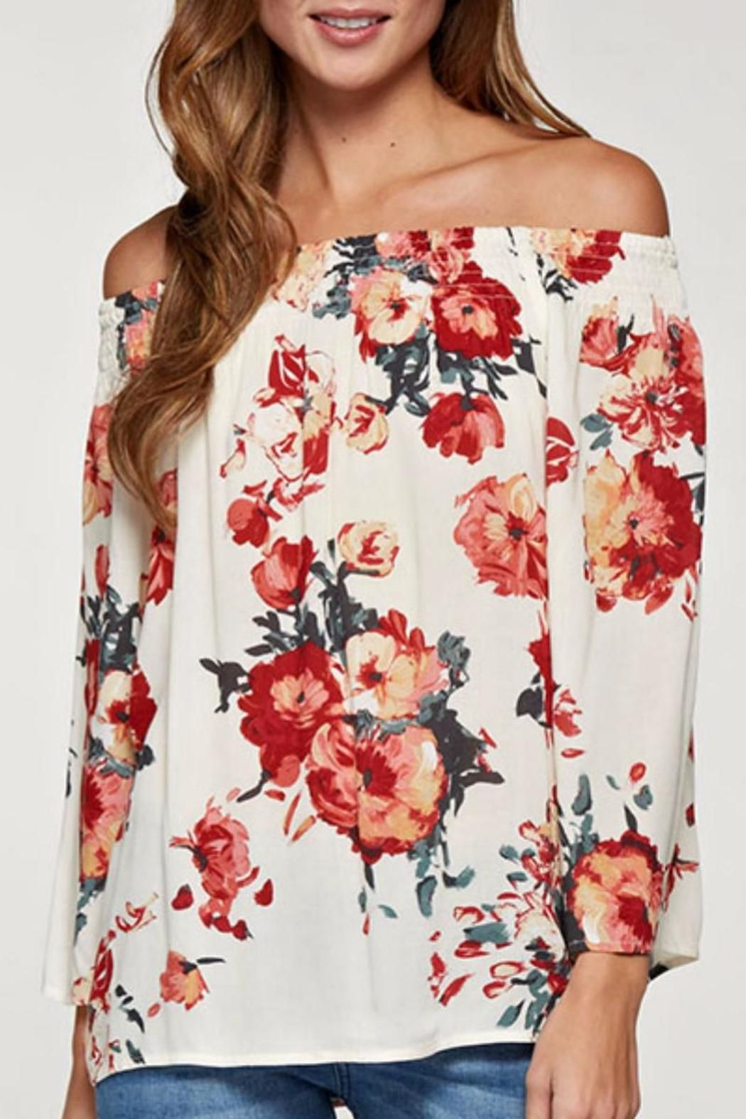 9a9f1b3c4b3760 Embrace your femininity with this shoulder-baring top by Lovestitch. Cut  from a beautiful floral print this top features an off the shoulder design  with a ...