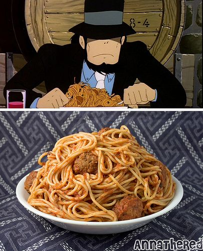 Pasta with meatballs from The Castle of Cagliostro ...