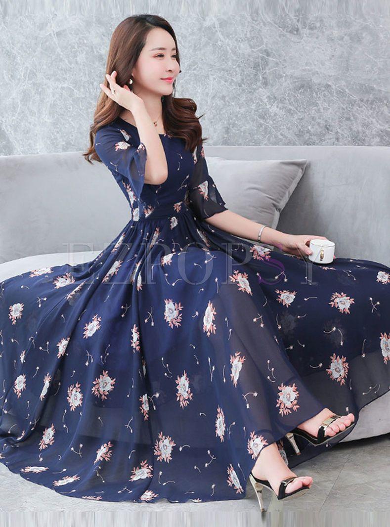 Floral summer chiffon dress with dark blue background