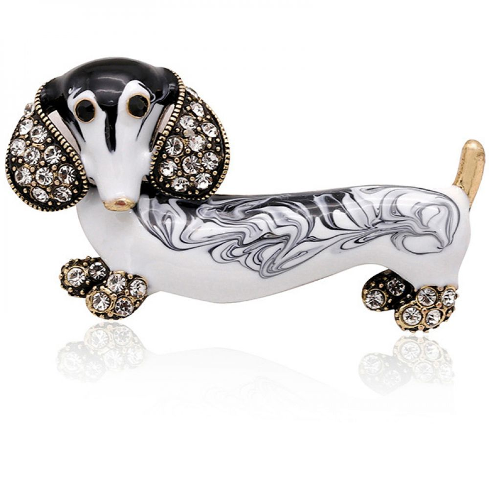 Vicencia Dachshund Enamel Brooch 2 Color