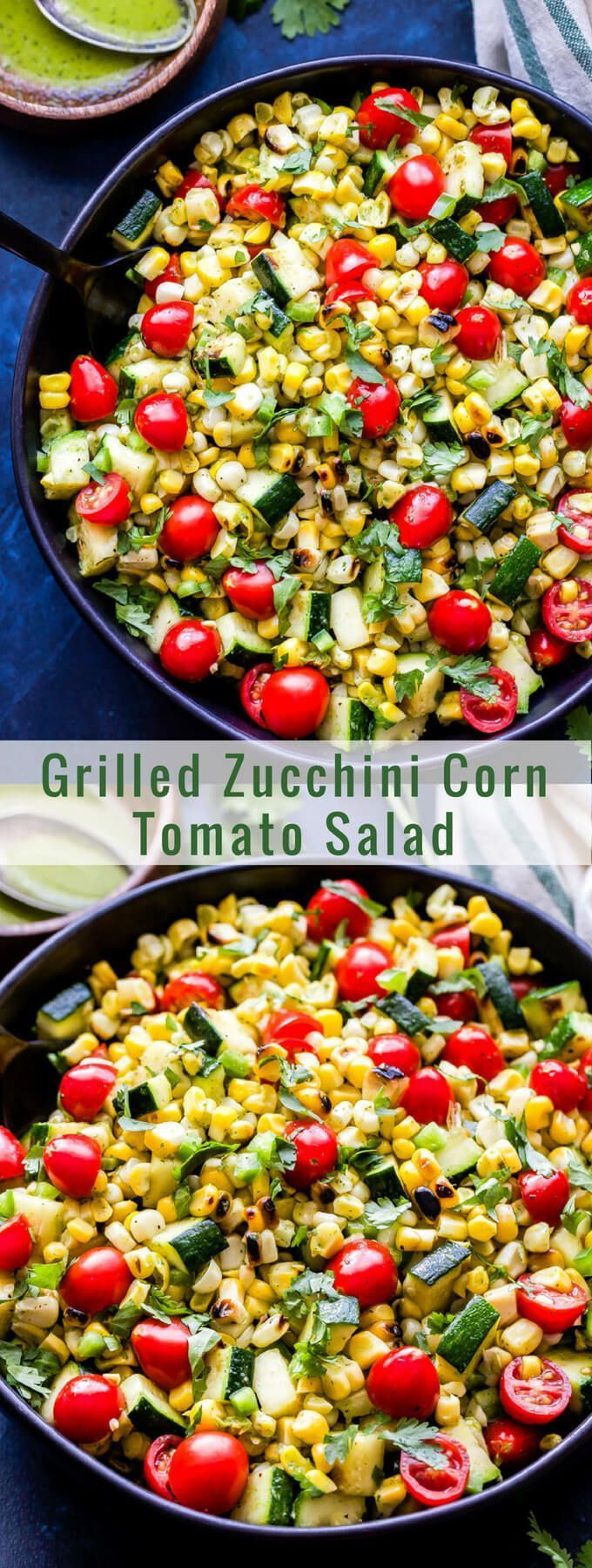 Zucchini Corn Tomato Salad is a simple salad using all of summer's finest produce. Grilling the vegetables adds a wonderful smoky flavor and the cilantro lime vinaigrette brings the whole salad together!