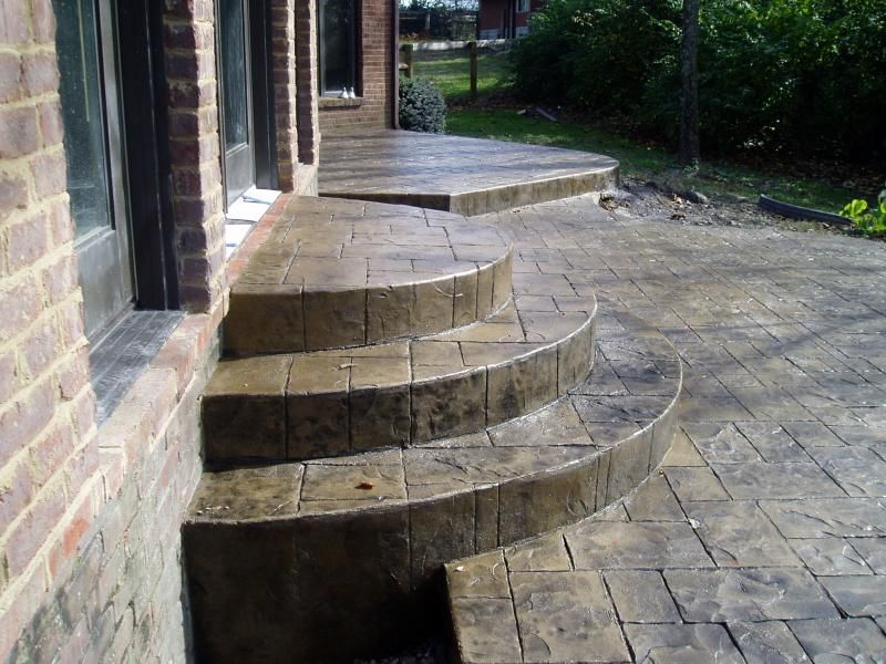 The Neal Company Llc Stamped Concrete Paver Steps Patio | Half Moon Wood Steps | Wooden | Hexagon | Diy | Outside Corner Deck | Exterior