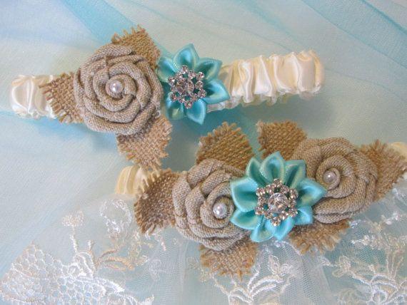 Teal Blue Wedding Garter Set, Aqua Blue Garters, Burlap & Lace ...