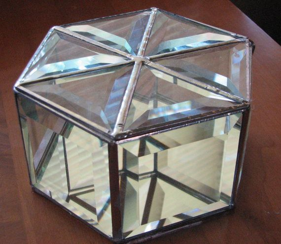 36d9624f8f72 Clear beveled glass hexagon box 8 inches wide by 4 inches tall to ...