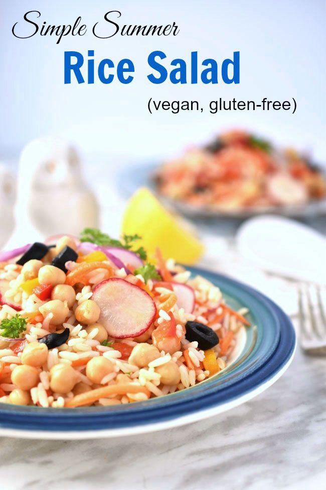 Simple Summer Rice Salad (vegan, gluten-free) | Rice salad ...