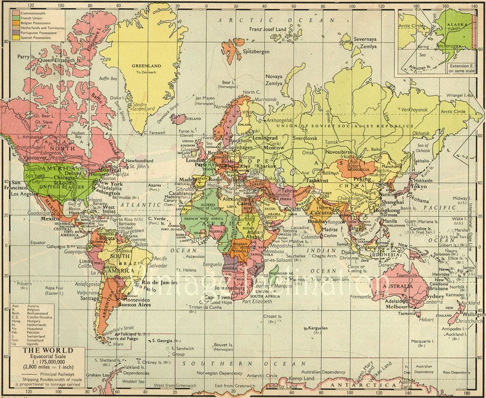 1950s Vintage Map would be cool for Justin's office Etsy.