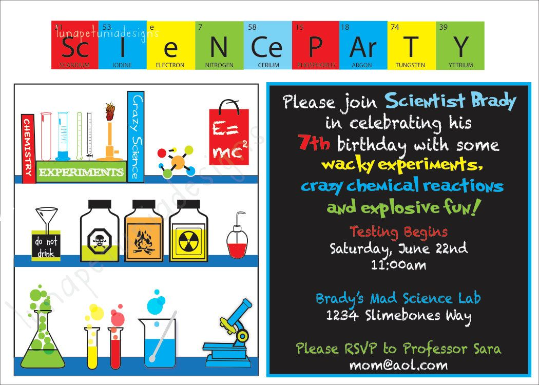 Mad Science Birthday Party Invitation . Girl colors available ...