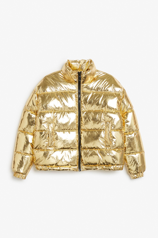Monki Image 1 Of Gold Puffer Jacket In Yellow Reddish [ 3000 x 2000 Pixel ]