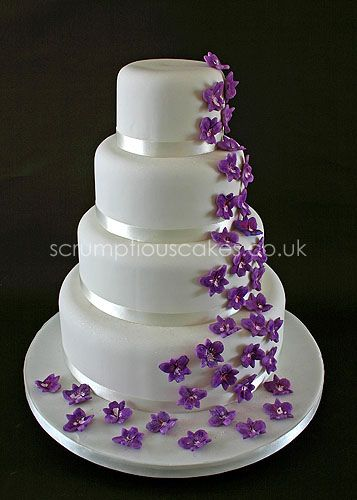 Wedding Cake 592 Purple Orchid Cascade Purple Wedding Cakes