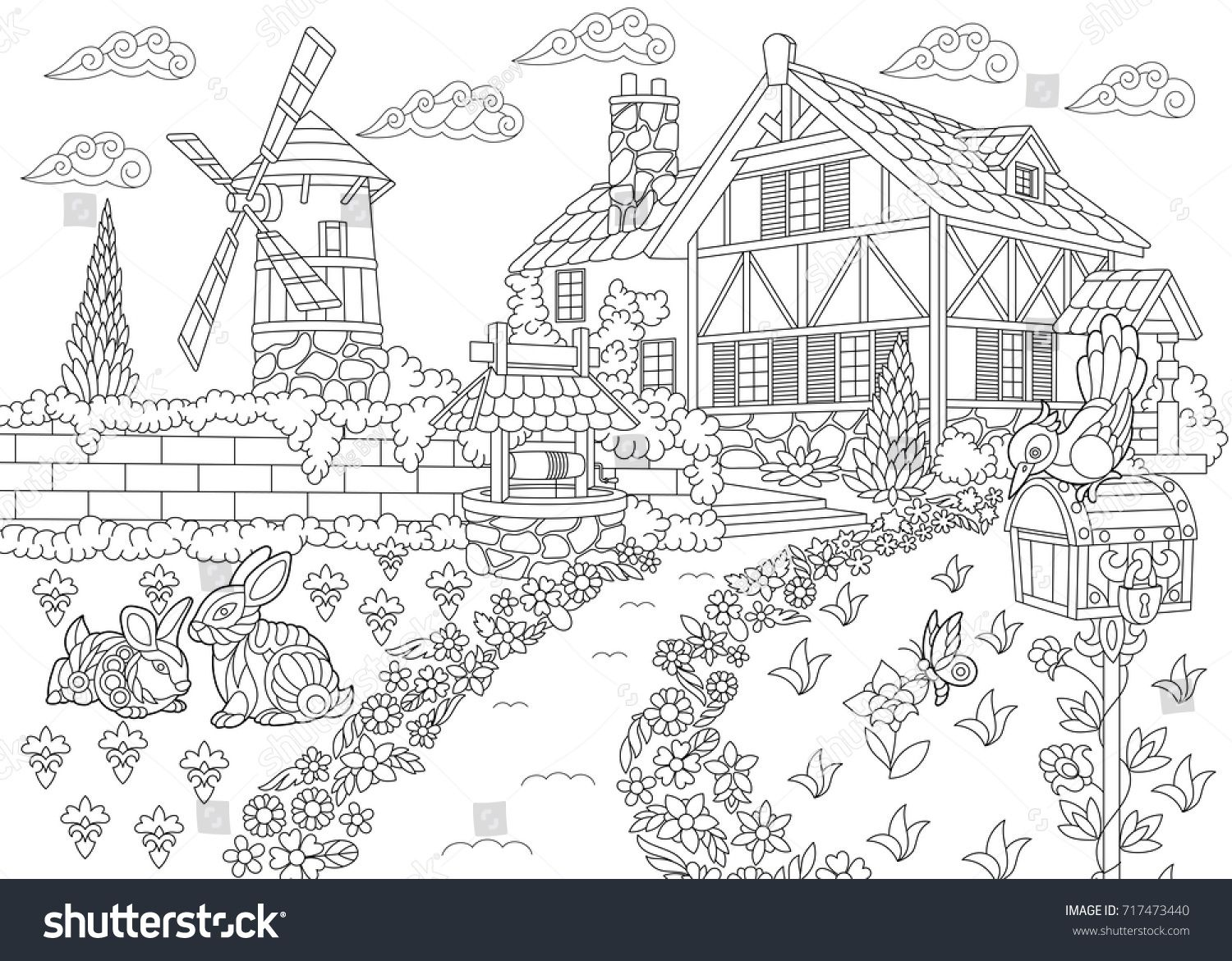Stock Vector Coloring Page Of Rural Landscape Farm House Windmill