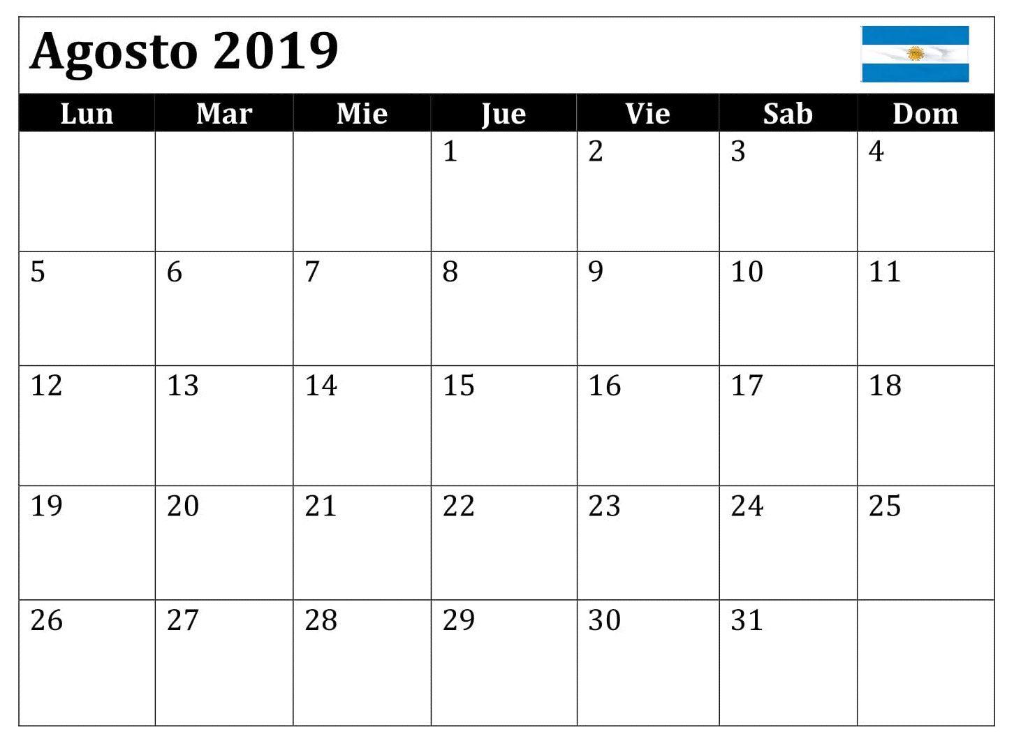 Calendario De Agosto 2019 Chile.Agosto Calendario 2019 Argentina Word Calendario Agosto