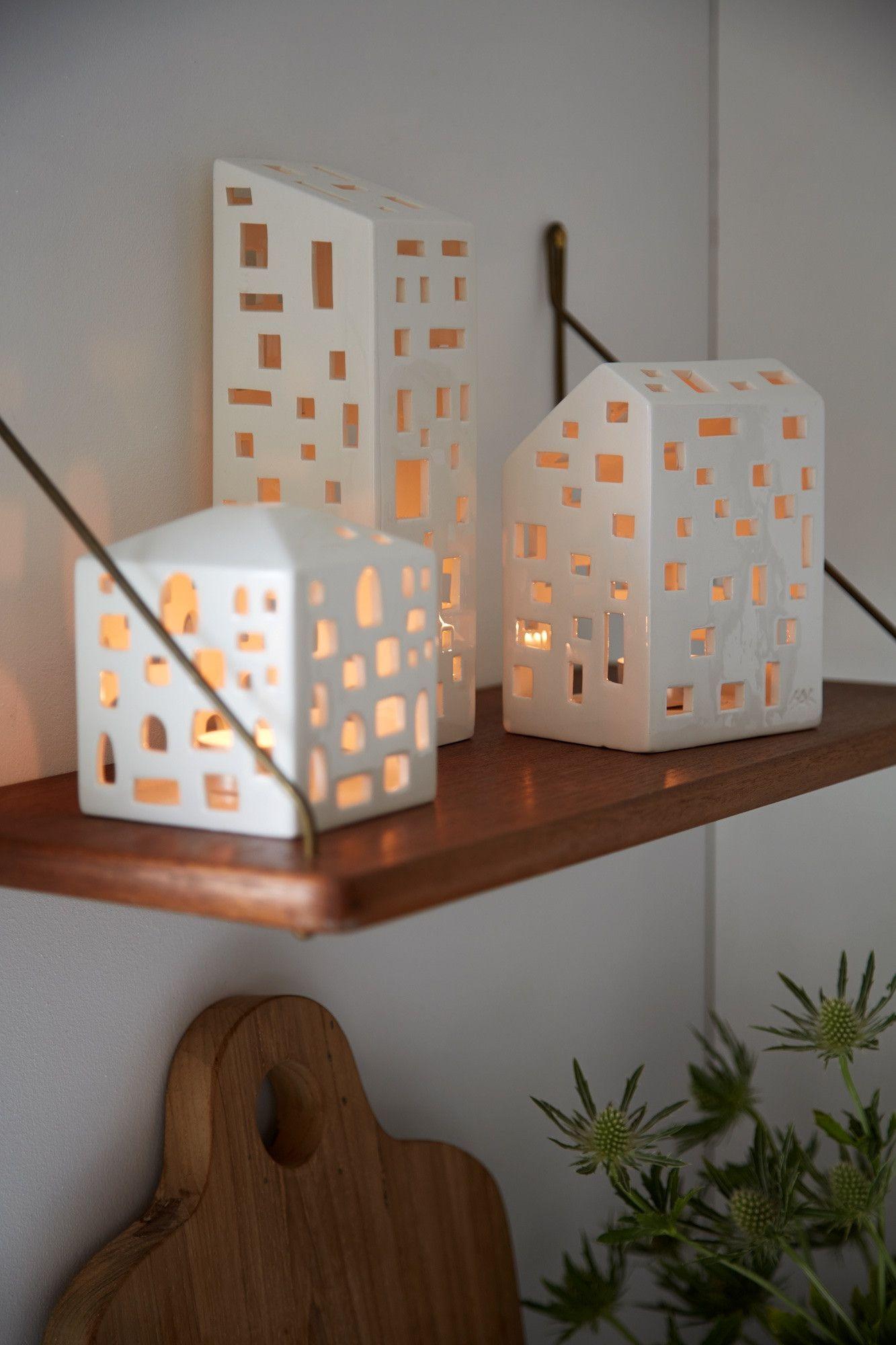 Kahler Urbania Tea Light House Ceramic Candle Holder