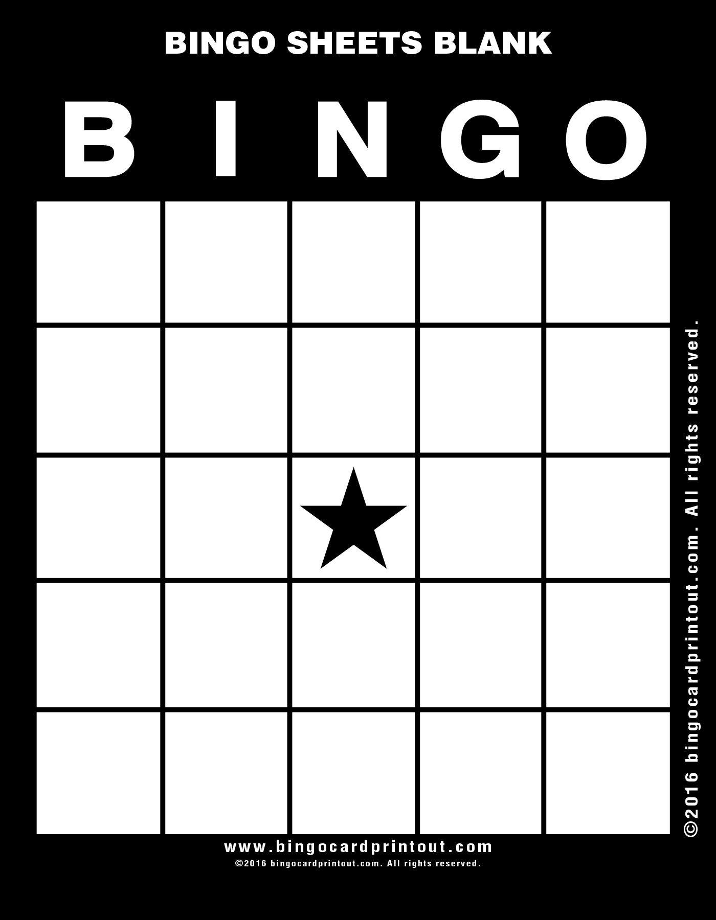 Bingo Sheets Blank 11 | Bingo Sheets Blank | Pinterest