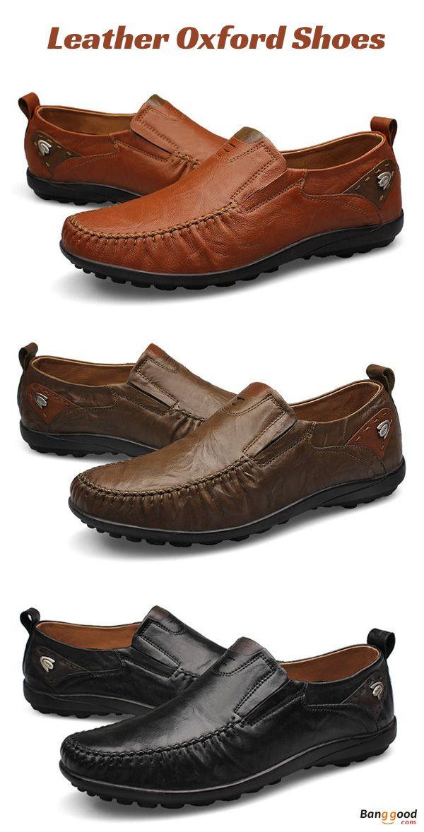 US Size 6.5-11 Men Genuine Leather Slip