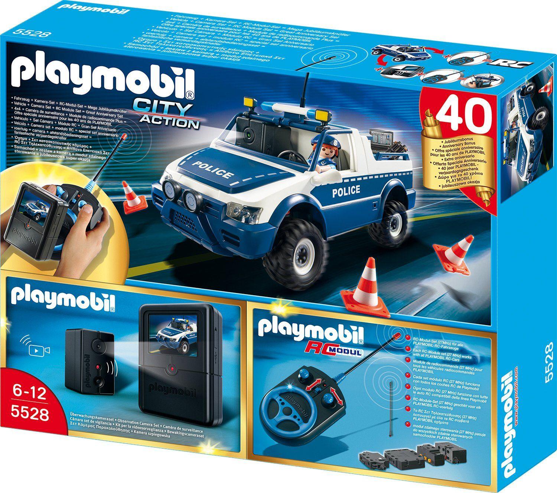 Amazon De Playmobil 5528 Rc Polizeiauto Mit Kamera Set