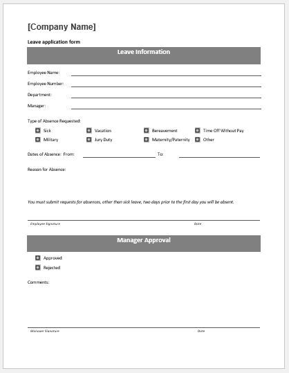 10+ Leave Application Form Templates Word, Excel  PDF Templates - leave form templates