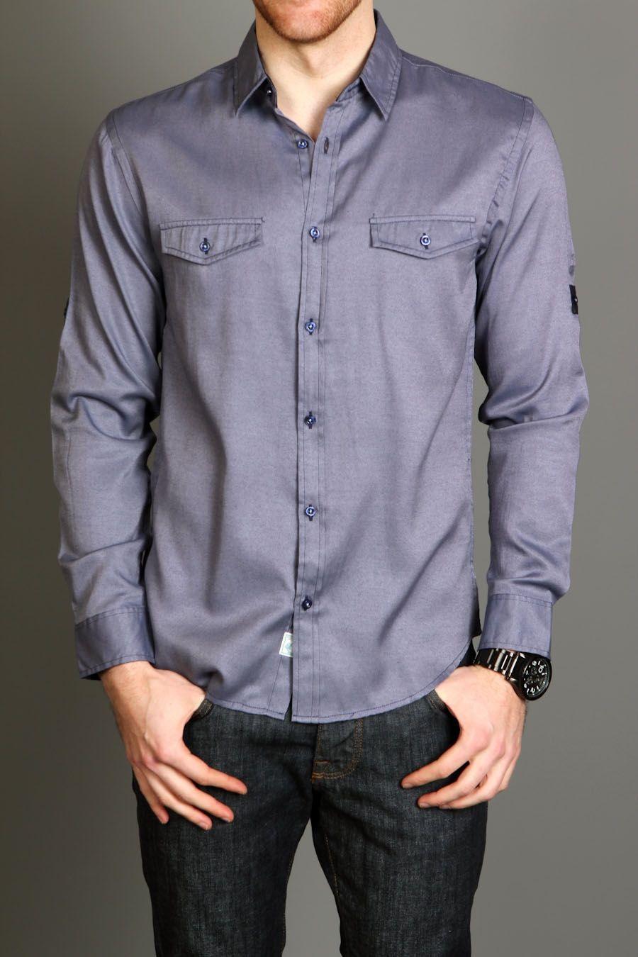 Pocket Change Jefferson Convertible Chambray Shirt Navy Chambray