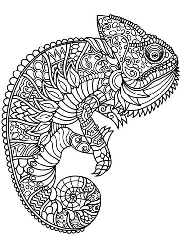 Chameleon Zentangle Coloring Page Animal Coloring Books Mandala Coloring Pages Owl Coloring Pages