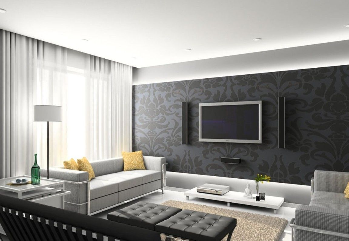 Design With Tv Living Tv Wall Living Room Design Dark Gray Color On The W Contemporary Living Room Design Living Room Design Modern Interior Design Living Room