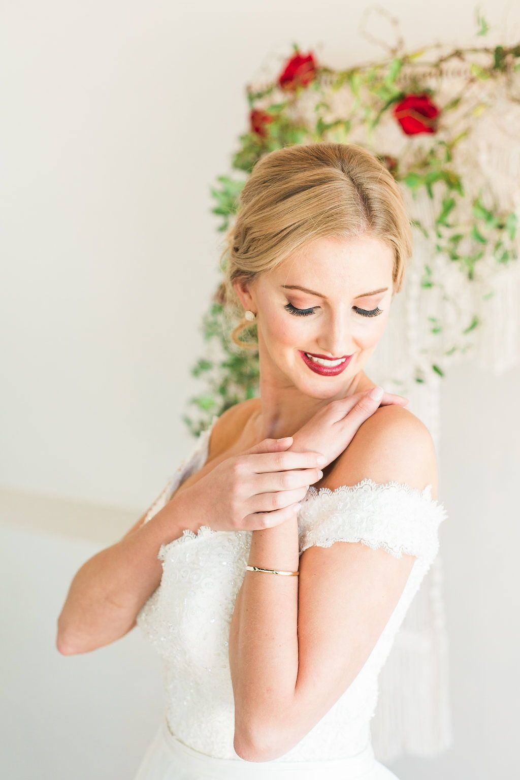 Christmas Holiday Wedding Bold red lip bridal glam by