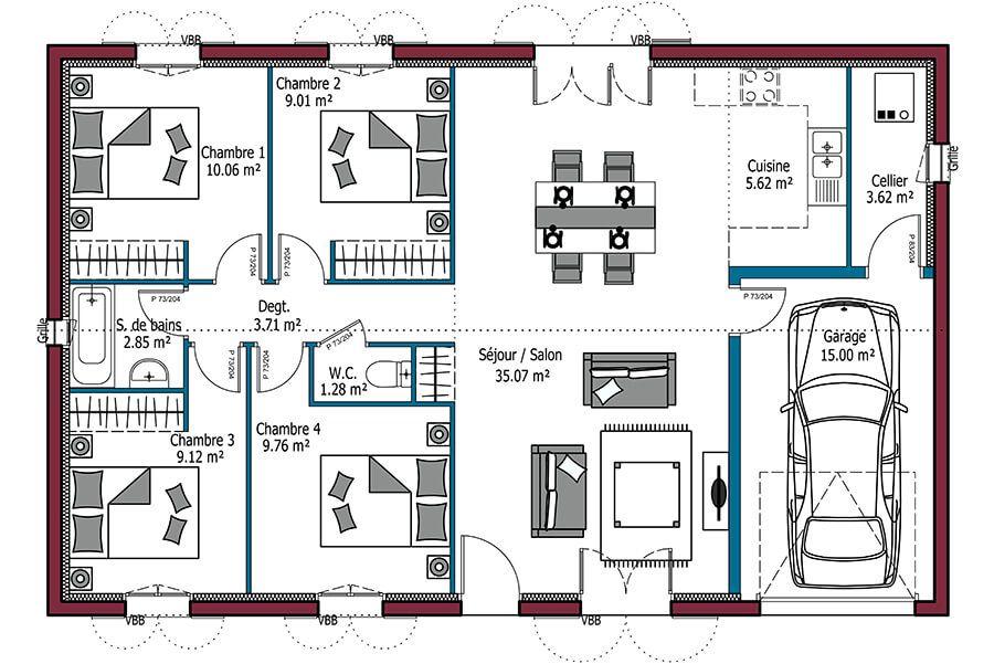 plan de maison 5 chambres avec garage