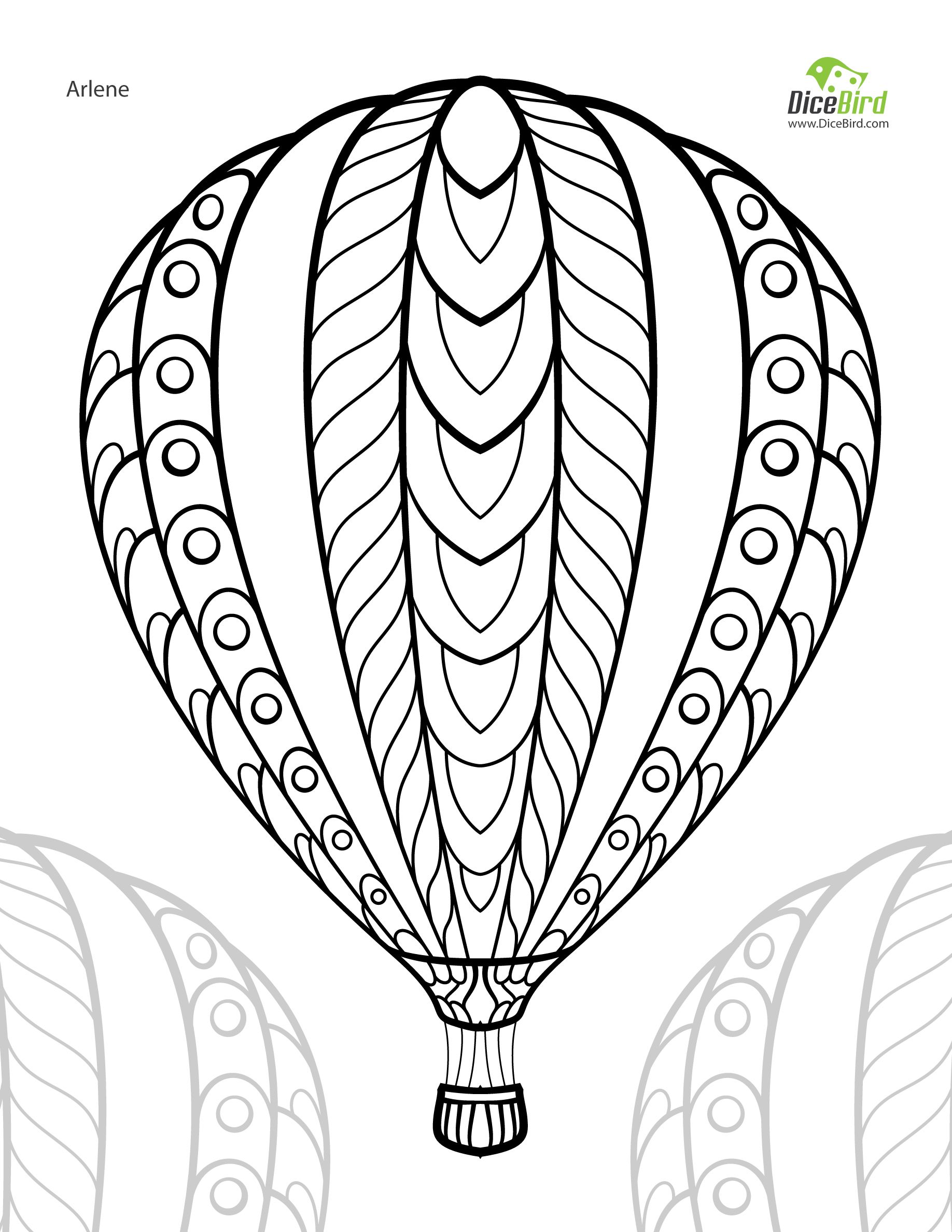 Hot air balloon adult free printable colouring page