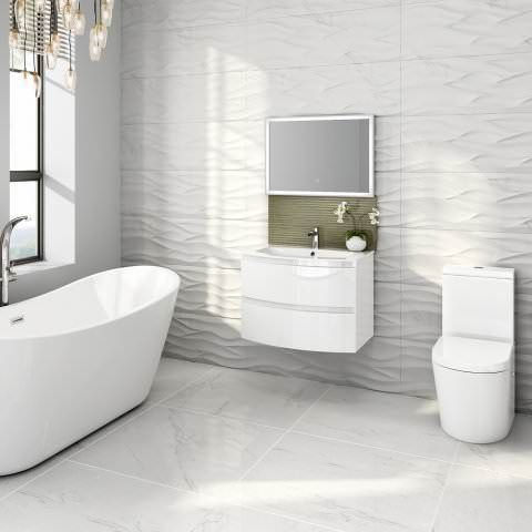 700mm Amelie High Gloss White Curved Vanity Unit Wall Hung Wall Hung Vanity Bathroom Furniture Vanity Vanity Units