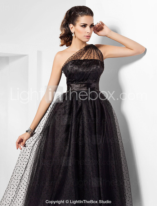 Aline one shoulder ankle length tulle little black dress see