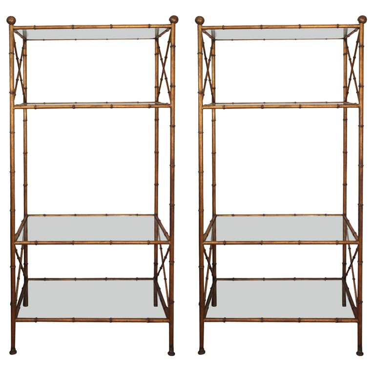 Lovely 1stdibs   Pair Of Gilt Metal Faux Bamboo Etageres Explore Items From 1,700  Global Good Looking